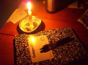 notebook in candlelight