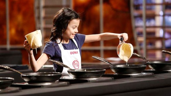"MASTERCHEF: Contestant Oona in the all-new ""Junior Edition: Flip It!"" episode of MASTERCHEF airing Tuesday, Nov. 11 (8:00-9:00 PM ET/PT) on FOX. CR: Greg Gayne / FOX. © 2014 FOX Broadcasting Co."
