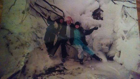My friends Christina, Jackie, and Me (in the middle) at age 11, or 12.
